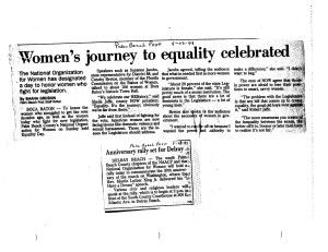 August 1993 Palm Beach Post News coverage of Women's Equality Day and NOW-NAACP rally commemorating the 30th anniversary of the March on Washington
