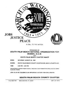 1993 Flyer announcing joint NOW-NAACP program celebrating 30th anniversary of March on Washington and Women's Equality Day