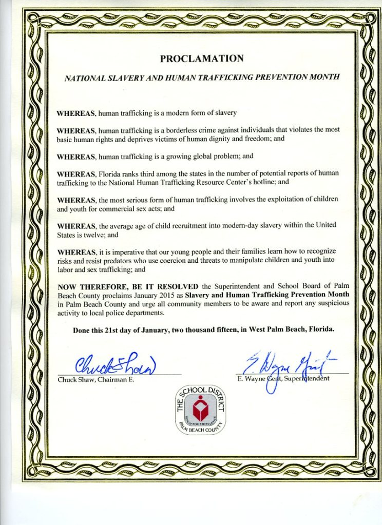 Proclamation by PBC School Board re National Slavery and Human Trafficking Prevention Month