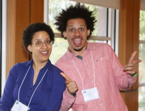 Amy and Eric Andre, goofing off a bit